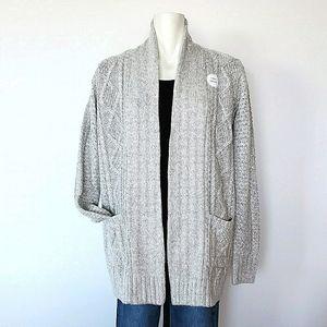 Canadiana Wool Blend Grey Cardigan,  Size Medium